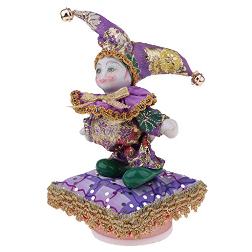 Prettyia 8 inch Adorable Kids Angel Model Porcelain Music Triangel Doll Harlequin Clown Doll Bell Hat Christmas Xmas Gift Collectibles Purple