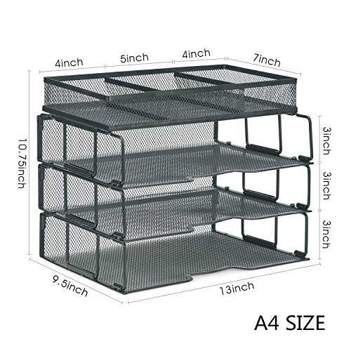 ProAid Mesh Office Desk Organizer 3-Tier Stackable Letter Tray Organizer Sorter with 3 Compartments, Black by ProAid (Image #3)