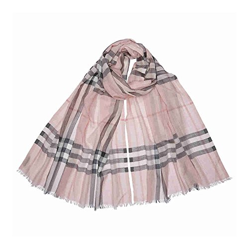 - Burberry Lightweight Check Wool and Silk Scarf - Ash Rose