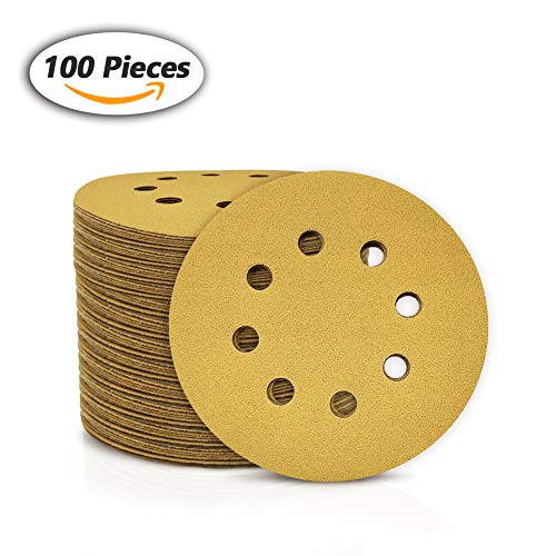 SPEEDWOX 100 Pcs 5 Inches 8 Hole Sanding Discs 120 Grit Dustless Hook and Loop Sandpaper for Random Orbital Sander Yellow Finishing Discs for Automotive Woodworking from SPEEDWOX