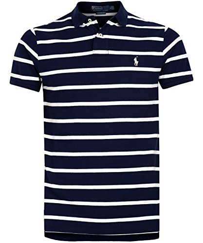 Polo Ralph Lauren Men's Striped Big and Tall Interlock Polo Shirt Collegiate Navy Blue Lt (Striped Polo Collegiate)