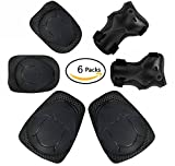 Knee Pads Elbow Pads Wrist Guards 6 in 1 Protective Gear Set for Riding Sports Skateboard Rollerblade Bike Adjustable Strong Double Straps (Black)