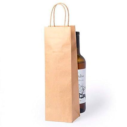 DISOK Lote de 50 Bolsas Kraft para Botellas de Vino - Bolsas para Vino, Kraft, Naturales, Marrón, Marrones. Bolsas para Botellas de Vino Papel. Bodas ...