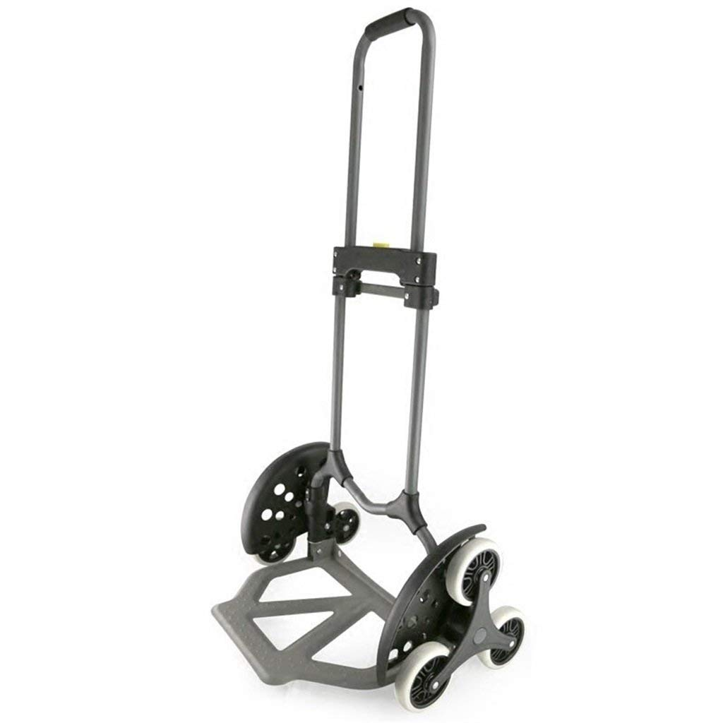 Portable Trolley, Climb The Stairs Luggage Cart Hand Truck Steel Shopping Cart Mute Trolley Folding Van Pull Portable Small Six-wheeled Cart Black Load 30 To 70 Kg (Color : GRAY) ( Color : Gray ) by Zehaer (Image #1)