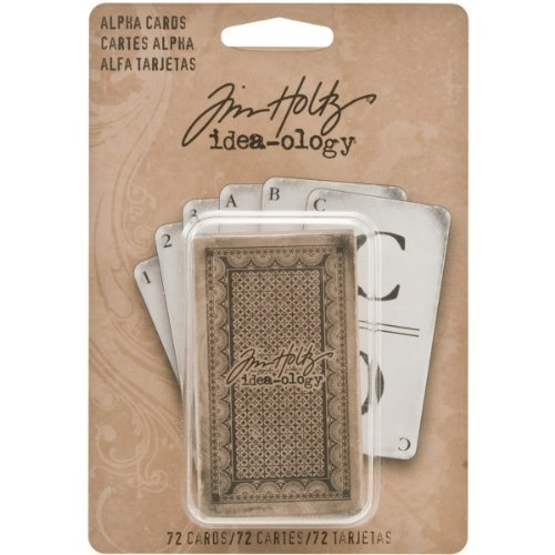 Alpha Cards by Tim Holtz Idea-ology, 72 Alpha and Digit cards, 2-1/2 Inches Tall, Paper, Black and White, TH93006 by Tim Holtz Idea-ology Advantus Corp.