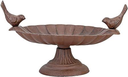 Perching Birds Oval CAST IRON metal Birdbath Outdoor Lawn//Garden//Patio Decor
