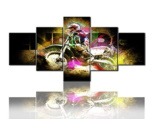 (Wall Decor for Living Room Motorcycle Racer Pictures Motocross Extreme Sports Wall Art 5 Panel Canvas Paintings Vintage Artwork House Decorations Framed Ready to Hang Poster and)