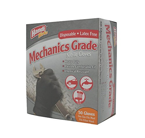 Handi Works Disposable Heavy Duty Latex-Free Nitrile Mechanics Grade Gloves, 50-Count Box, One Size, 00895 by Glove Specialties (Image #4)
