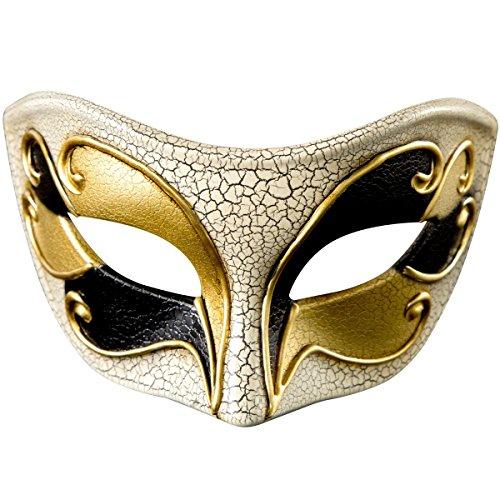 Mask Masquerade Vintage Retro Venetian Crack Party Mardi Gras Costume Halloween (Golden -