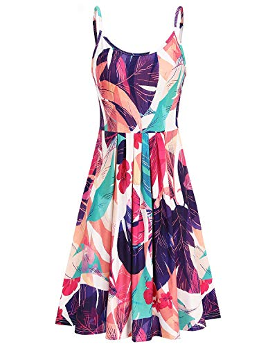 STYLEWORD Women's Round Neck Floral Spaghetti Strap Summer Dress Midi Swing Casual Sundress