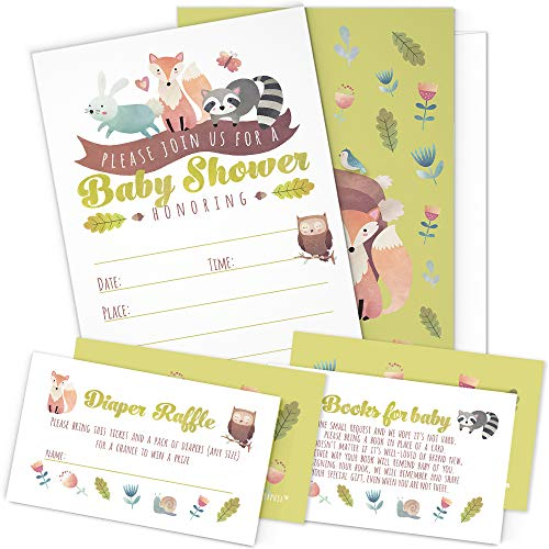 A Set of 25 Woodland Animals Baby Shower Invitations, Diaper Raffle Tickets and Baby Shower Book Request Cards with Envelopes. Gender Neutral Invites Perfect for Baby Boys and Baby Girls.