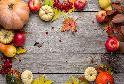 CSFOTO 6x4ft Background for Pumpkin Apple Fruits Frame Rustic Wood Photography Backdrop Autumn Berry Maple Vintage Wood Photo Rural Theme Party Studio Props Polyester Wallpaper ()