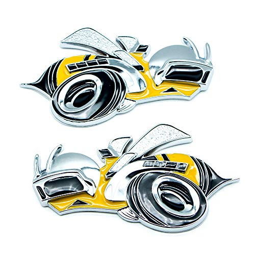 2Pcs Super Bee Yellow Car Emblem Decal