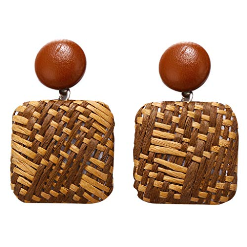 Psunrise Pendientes Bohemian Style Wood Bamboo Rattan Geometric Round Square Stud Earrings Ladies Jewelry(4.3x2.8cm, Coffee)