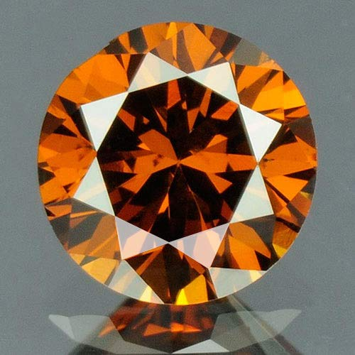 (0.26 cts. CERTIFIED Round SI3 Vivid Cognac Red Color Loose Natural Diamond 10441)