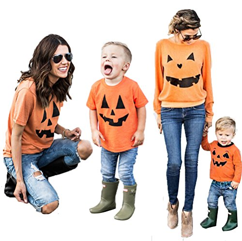 JACK O' LANTERN PUMPKIN Face Halloween Costume Family Matching Shirts Clothes Outfits Parent-Child (Asian Men Halloween Costume Ideas)