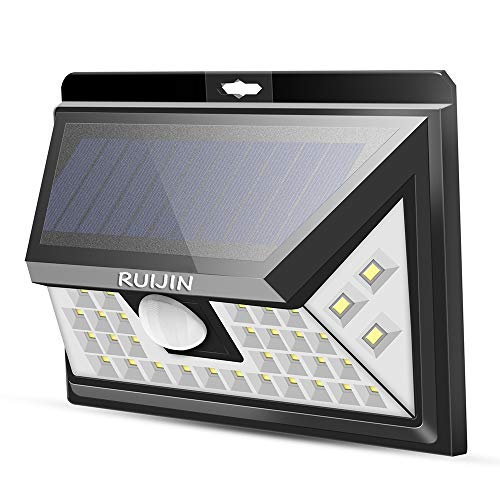 Light Area Security (RUIJIN Solar Light Outdoor,Wireless 40 LED Motion Sensor Solar Lights with Wide Lighting Area,Easy Install Waterproof Security Lights for Back Yard,Driveway,Garage,Front Door and More)