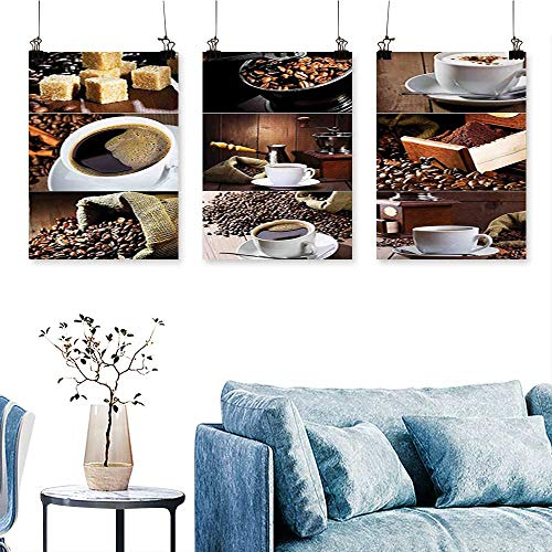 SCOCICI1588 3-Piece Triptych Photos Coffee Mugs and Roasted Bean Bags Grinder Sugarcubes Collage Brown White for Wall Decor Home Decoration No Frame 16 INCH X 40 INCH X 3PCS