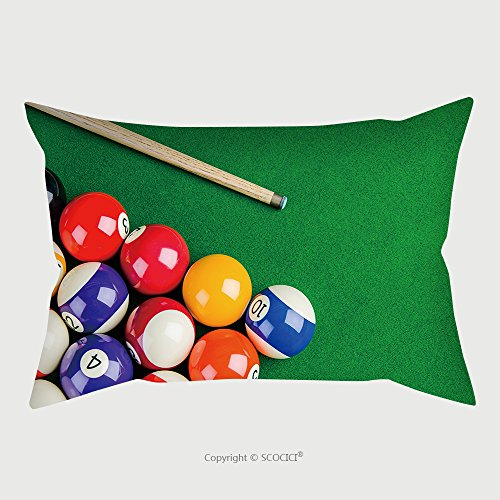 Custom Microfiber Pillowcase Protector Billiard Balls On Green Table With Billiard Cue Snooker Pool Game 282059312 Pillow Case Covers (Velvet Pool Cue Case)