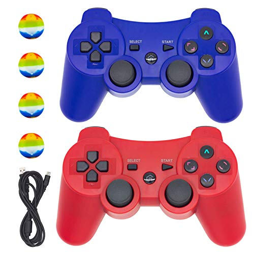 PS3 Controller Wireless,BRHE Bluetooth Dualshock 3 Gamepad PS3 Remote Control Sixaxis Vibration Joystick for Playstation 3 Games with USB Charger Cable New Upgrade Version (Blue&RED)