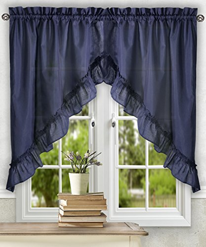 Ellis Curtain Stacey 60-by-38 Inch Ruffled Swag Curtain (Navy)