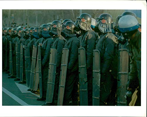 Vintage photo of south korea demonstration:riot police line up to block more than 400 radical students.