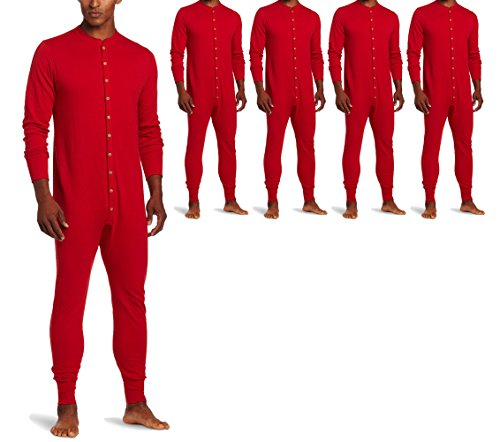 Duofold KMMU Men's Mid Weight Double Layer Thermal Union Suit L Red 5 Pack