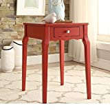 ModHaus Living Modern Country Style Wood Accent Nightstand End Sofa Side Table Rectangle Shaped with Storage Drawer – Includes Pen (Red)