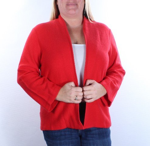 Anne Klein Women's Open Front Wool Cardigan, Vibrant Red, Large by Anne Klein