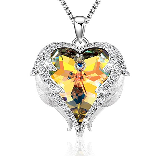 Denvosi Necklace Guardian Angels Heart Of The Ocean With Wings Made With Swarovski Crystals Fashion Pendant Necklace For Women Gift For Valentine Anniversary Yellow (Angel Heart Pendant)