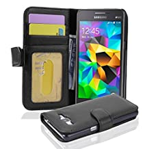 Cadorabo - Book Style Wallet Design for Samsung Galaxy GRAND PRIME (G5308W) with 3 Card Slots - Etui Case Cover Protection Pouch Skin in MIDNIGHT-BLACK