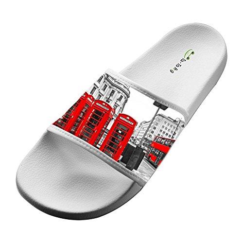 KOUY Summer Unisex London Red Booth Home Slippers Bath/Beach Non Slip Slide Sandals -