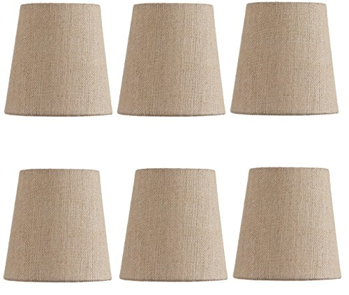 Beaded Mini Shade (Mini Chandelier Shades Clip On Small Lamp shade Set Of Six Beige linen)