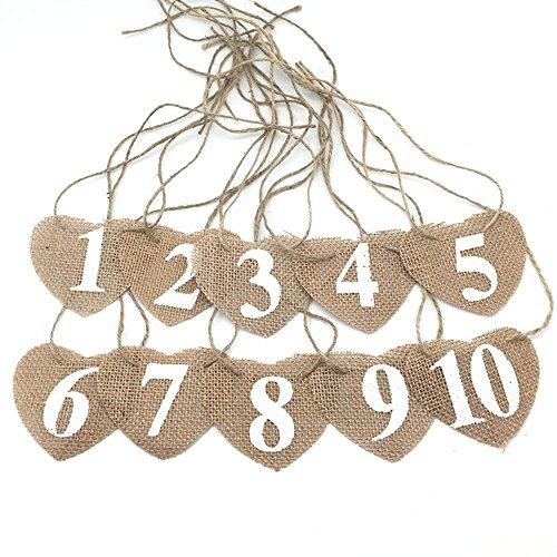 OZXCHIXU  Burlap Hearts Flags Wedding Table Numbers 1-10 Rus