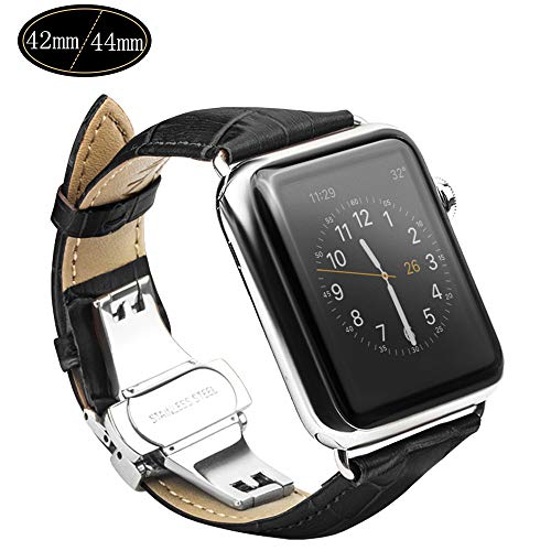 Apple Watch Strap, Xboun Apple Watch Series 4 Band, Alligator Grain iWatch Series 1/2/3 Replacement Band with Classical Butterfly Push Button Deployment Buckle Strap for All 42mm/44mm Models