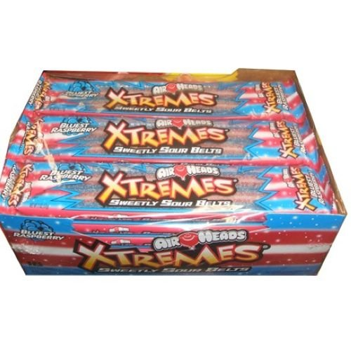 Airheads Xtremes Bluest Raspberry - 18 per pack -- 12 packs per case. by Perfetti Van Melle