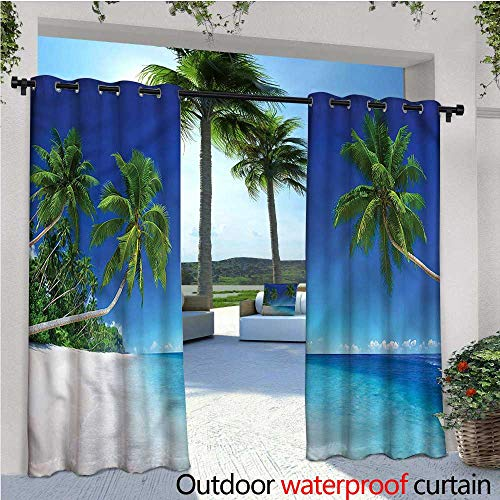 (warmfamily Tropical Outdoor Privacy Curtain for Pergola Exotic Pacific Ocean Palms Thermal Insulated Water Repellent Drape for Balcony W72 x L96)