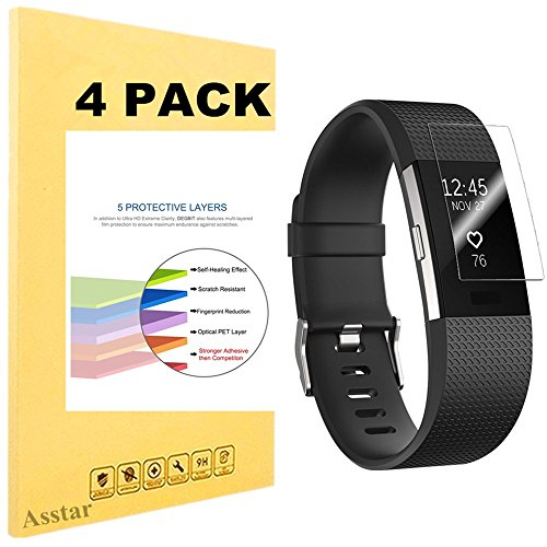 Fitbit Charge 2 Screen Protector, [4-Pack] Asstar [Full Coverage] Premium HD Invisible Clear Film Anti-Bubble Anti-Scratch Film Cover, Screen Protector for Fitbit Charge 2 (4 Pack)