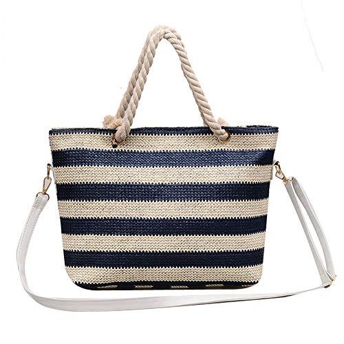 Price comparison product image MaxFox Fashion Women Woven Stripe Crossbody Satchel Bags Ladies Weave Portable Messenger Shoulder Tote Handbags (Blue)