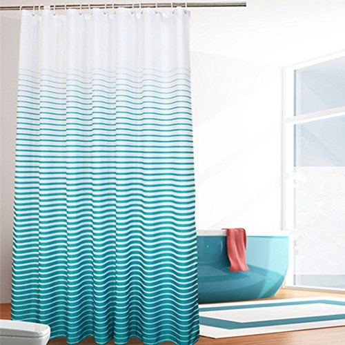 (Ufatansy Uforme Extra Wide Shower Curtain Stripes 86 Inch by 78 Inch Long Fabric Bathroom Curtain Anti-Water and Mold Proof with Hooks for All Ages, Lake Blue)