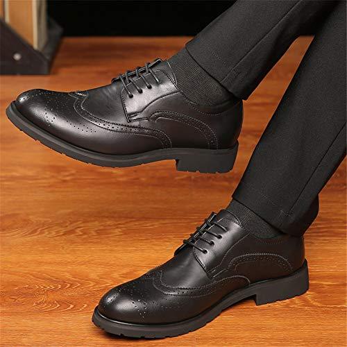 shoes 2018 Uomo Classiche 40 Jiuyue Riposo Uomo Pelle Casual Intagliati Scarpe Marrone Eu Oxford color Nero Da Dimensione Brogue Lacci Con dCnFqw5