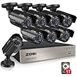 ZOSI 8-Channel 1080N HD Video Security System CCTV DVR 1TB Hard Drive + 8 Indoor/Outdoor 1.0MP 1280TVL Weatherproof Surveillance Security Camera System (Certified Refurbished)