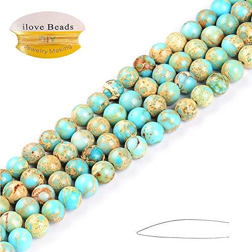 ILVBD Sea Sediment Light Blue Jasper Round Gemstone Imperial Jasper Loose Beads for Jewelry Making 15