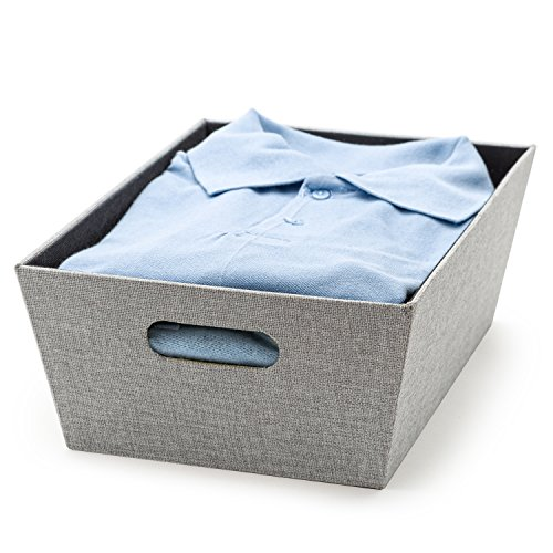 "Creative Scents Decorative Storage Basket for Shelves Fabric (11"" x 15.25"" x 5.25"") Closet Organizer Bin for Shelves with Built-in Handles, Storing Bedding's, Toys, Books & More (Gray Birch)"