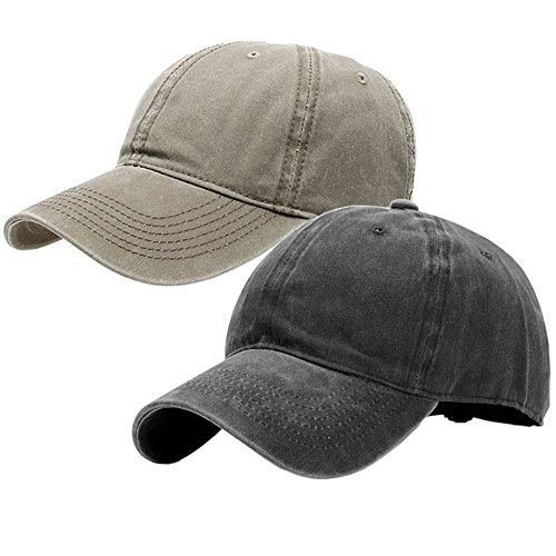 Twill Low Profile Cap - Vintage Washed Dyed Cotton Twill Low Profile Adjustable Baseball Cap (A-Black+Khaki)