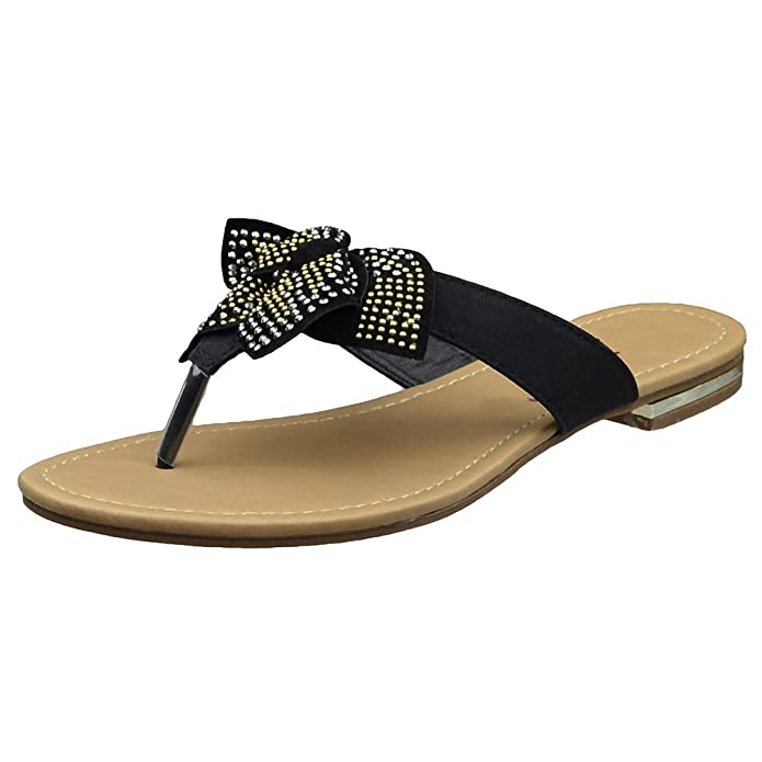 acb6a719475d KSC Womens Flat Sandals Studded Bow Accent Slip On Thong Sandal Black SZ 9   Amazon.co.uk  Shoes   Bags