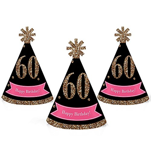 Chic 60th Birthday - Pink, Black and Gold - Mini Cone Birthday Party Hats - Small Little Party Hats - Set of -