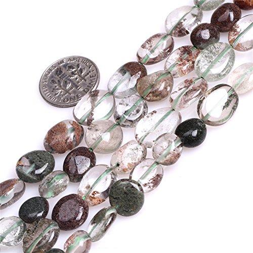 MARIE A FORTUNEL Green Phantom Quartz Gemstone Freeform Baroque Potato Beads for Jewelry Making 15'' 9x12mm ()