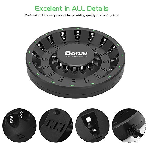 BONAI 16 Bay Smart Battery Charger Round with 16 Pack AA High-Capacity 2800mAh Ni-MH Rechargeable Batteries by BONAI (Image #2)