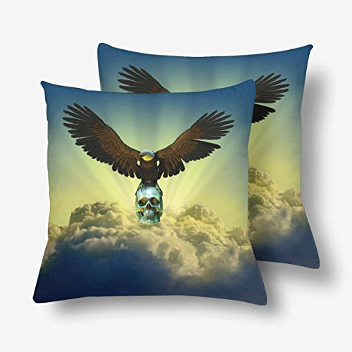 InterestPrint Bald Eagle Human Skull Throw Pillow Covers 18x18 Set of 2, Pillow Cushion Cases Pillowcase for Home Couch Sofa Bedding Decorative